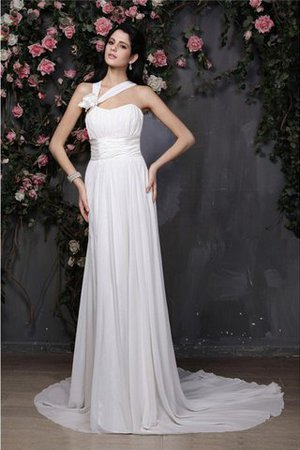Empire Waist Sleeveless Chiffon Draped Wedding Dress - 1