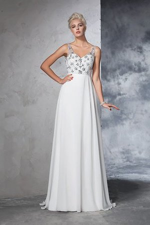 Sleeveless Empire Waist Sweep Train A-Line Long Wedding Dress - 3