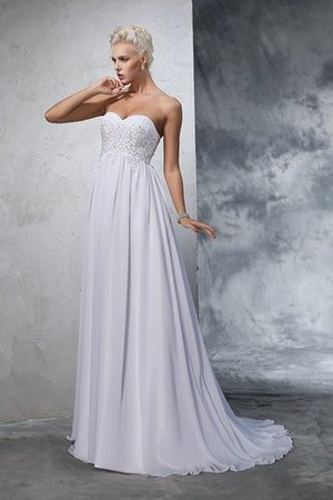 Sweetheart Empire Waist Chiffon Sleeveless Long Wedding Dress - 5