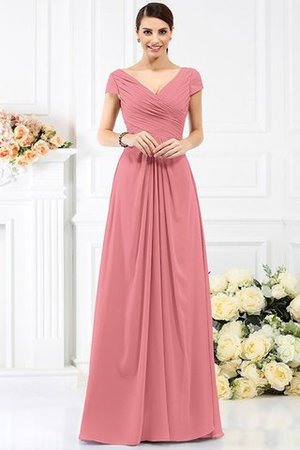 Long Empire Waist Pleated A-Line Short Sleeves Bridesmaid Dress - 28