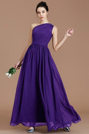 Floor Length Natural Waist Chiffon Ruched One Shoulder Bridesmaid Dress - 27