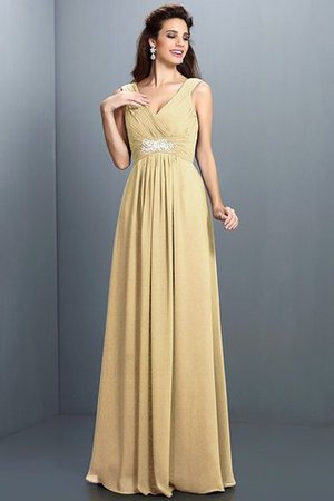 A-Line Chiffon Long Sleeveless Bridesmaid Dress - 6