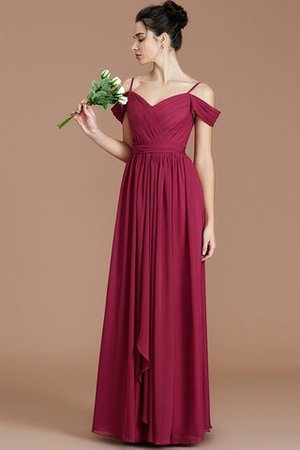 Chiffon Floor Length A-Line Ruched Bridesmaid Dress - 3