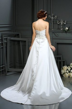 Strapless Court Train Long Beading Zipper Up Wedding Dress - 2