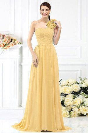 Chiffon A-Line One Shoulder Long Flowers Bridesmaid Dress - 6