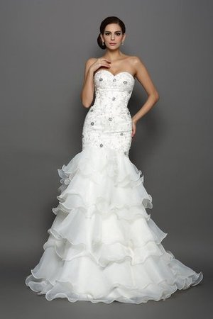 Beading Appliques Sleeveless Organza Long Wedding Dress - 1