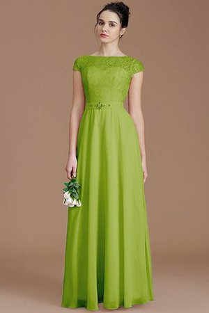 Floor Length Lace Chiffon Natural Waist Zipper Up Bridesmaid Dress - 19