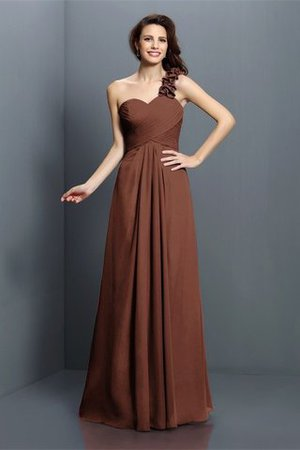 Zipper Up One Shoulder Chiffon A-Line Bridesmaid Dress - 7
