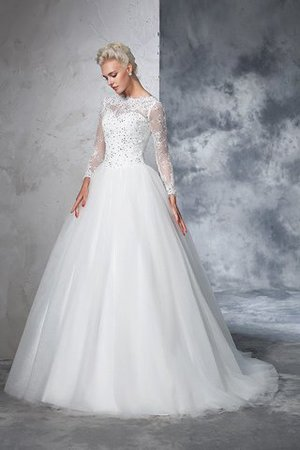 Sweep Train Long Zipper Up Ball Gown Long Sleeves Wedding Dress - 4