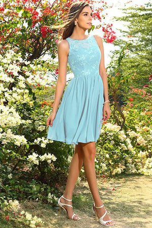 A-Line Natural Waist Sleeveless Chiffon Short Bridesmaid Dress - 18