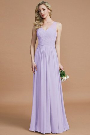 Natural Waist Floor Length A-Line V-Neck Bridesmaid Dress - 24