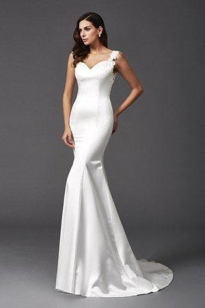 Mermaid Satin Wide Straps Sweep Train Natural Waist Wedding Dress - 1
