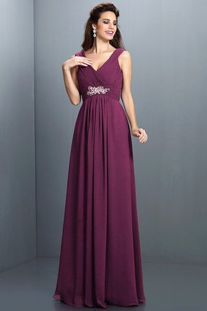 A-Line Chiffon Long Sleeveless Bridesmaid Dress - 5