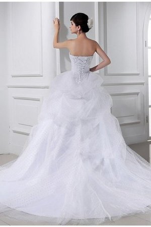 Chapel Train Sweetheart Ball Gown Satin Empire Waist Wedding Dress - 2