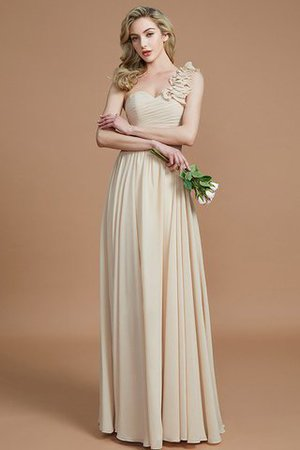 Sleeveless Natural Waist One Shoulder A-Line Chiffon Bridesmaid Dress - 3