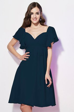 Ruffles Knee Length Short Sleeves Sweetheart Bridesmaid Dress - 9