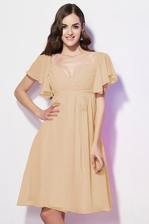 Ruffles Knee Length Short Sleeves Sweetheart Bridesmaid Dress - 14