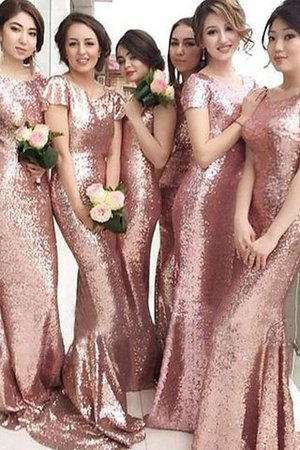 Short Sleeves Natural Waist Sheath Scoop Sequins Bridesmaid Dress - 1