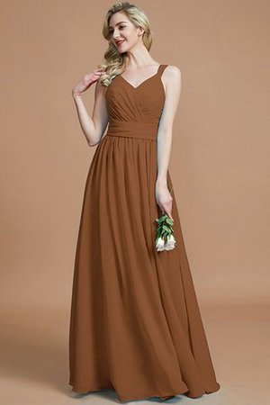 Sleeveless Natural Waist A-Line V-Neck Bridesmaid Dress - 10