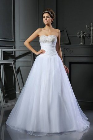 Beading Ball Gown Court Train Lace-up Sweetheart Wedding Dress - 1