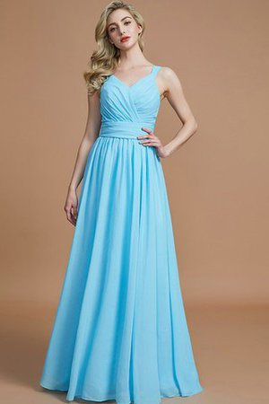 Sleeveless Natural Waist A-Line V-Neck Bridesmaid Dress - 3