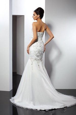 Appliques Satin Strapless Long Sleeveless Wedding Dress - 2