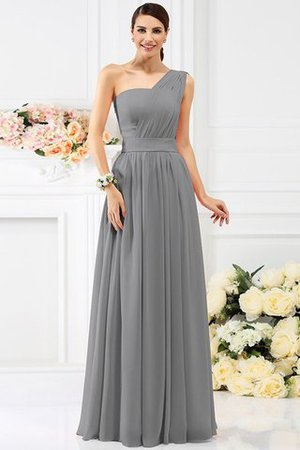Pleated Long A-Line One Shoulder Bridesmaid Dress - 27