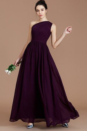 Floor Length Natural Waist Chiffon Ruched One Shoulder Bridesmaid Dress - 1