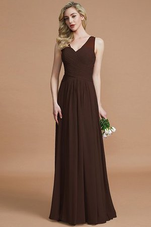 Natural Waist Floor Length A-Line V-Neck Bridesmaid Dress - 12