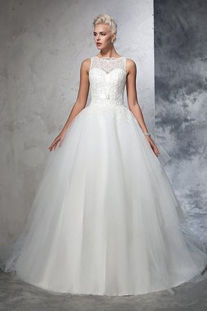 Chapel Train Bateau Empire Waist Appliques Ball Gown Wedding Dress - 4