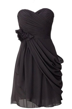 Sweetheart Draped Sleeveless Flowers Chiffon Bridesmaid Dress - 2