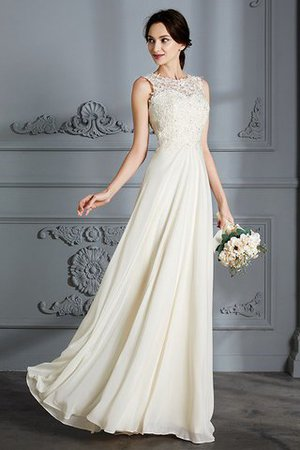 Floor Length Sleeveless Natural Waist Chiffon A-Line Wedding Dress - 4