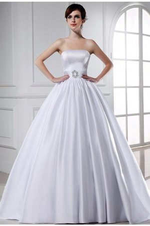 Chapel Train Ball Gown Satin Zipper Up Strapless Wedding Dress - 1