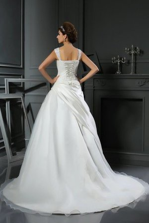 Empire Waist Ball Gown Appliques Chapel Train Lace-up Wedding Dress - 2