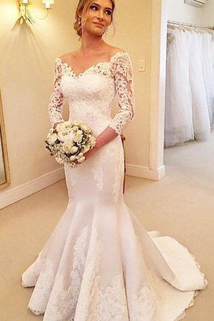 Off The Shoulder Satin 3/4 Length Sleeves Court Train Mermaid Wedding Dress - 2