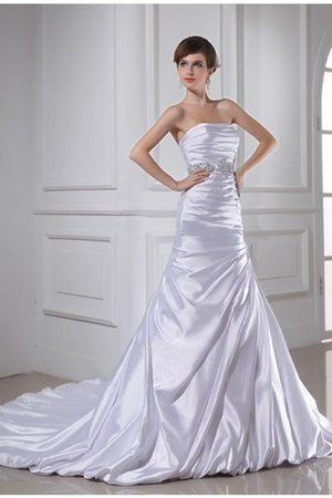 Sleeveless Empire Waist Mermaid Elastic Woven Satin Strapless Wedding Dress - 2