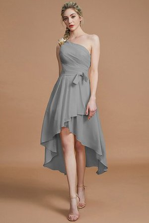 Asymmetrical Chiffon Natural Waist Bridesmaid Dress - 34