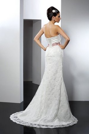 Strapless Chapel Train Mermaid Long Lace Wedding Dress - 2