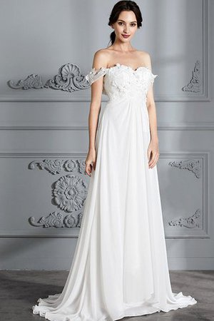 Sleeveless Chiffon Natural Waist Off The Shoulder Floor Length Wedding Dress - 4
