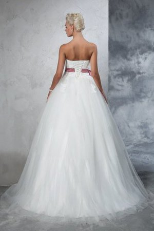 Empire Waist Court Train Accented Bow Ball Gown Strapless Wedding Dress - 2