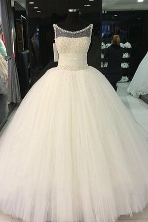 Beading Floor Length Sleeveless Ball Gown Natural Waist Wedding Dress - 1
