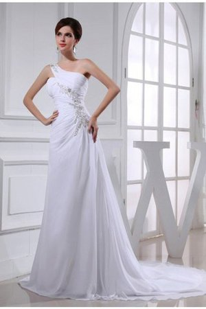 Princess Court Train Chiffon Appliques Sleeveless Wedding Dress - 1