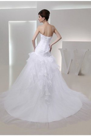 Mermaid Lace-up Flowers Organza Chapel Train Wedding Dress - 2