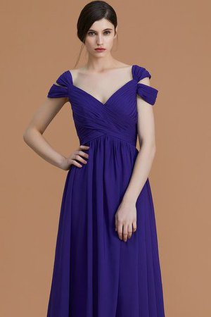 Natural Waist A-Line Ruched Floor Length Bridesmaid Dress - 5