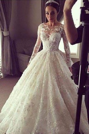 Scoop Court Train Lace Ball Gown Long Sleeves Wedding Dress - 2