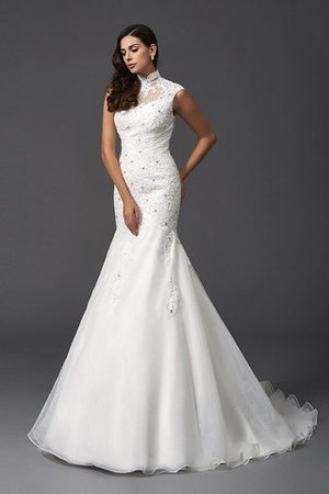 Sleeveless Organza Natural Waist High Neck Mermaid Wedding Dress - 3
