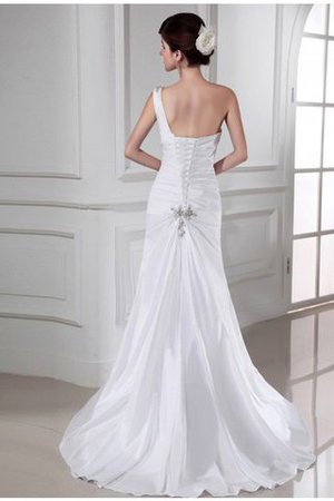 Appliques Sleeveless One Shoulder Lace-up Sweep Train Wedding Dress - 2