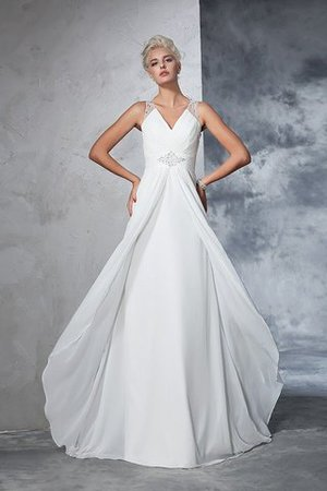 Chiffon Empire Waist Long Sweep Train A-Line Wedding Dress - 3