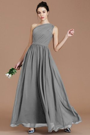 Floor Length Natural Waist Chiffon Ruched One Shoulder Bridesmaid Dress - 33