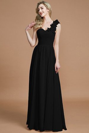 Sleeveless Natural Waist One Shoulder A-Line Chiffon Bridesmaid Dress - 8